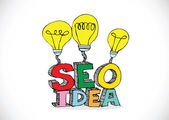 Bulb SEO Idea Search Engine Optimization concept design — Stock Vector