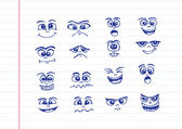 Cartoon faces Set hand drawing illustration — Vector de stock