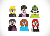 Cartoon faces Set hand drawing illustration — Stockvektor