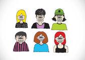Cartoon faces Set hand drawing illustration — Stock Vector