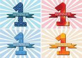 O vencedor e o número um primeiro lugar sinal simbol com fitas — Vetor de Stock