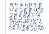 Hand drawn letters font written with a pen — Stockvektor