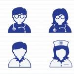 Doctor Nurse Patient Sick Icon Sign Symbol Pictogram — Stock Vector #49052073