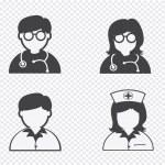 Doctor Nurse Patient Sick Icon Sign Symbol Pictogram — Stock Vector