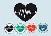 Serce fala ikony — Wektor stockowy