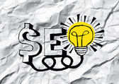 Seo Idea SEO Search Engine Optimization on crumpled paper — Stock Vector