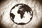Globe earth icons themes idea design on crumpled paper — Stock Photo