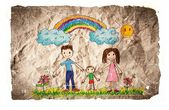 Children's drawings idea design on crumpled paper — Stock Photo