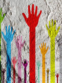 Colorful silhouette hands on Cement wall texture background desi — Stock Photo