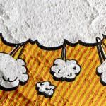 Speech Bubble Pop Art on Cement wall texture background design — Stock Photo #51160257