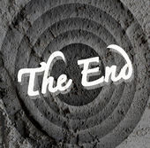 The end Movie ending screen on Cement wall texture background  — Stock Photo