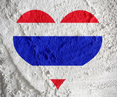 Love Thailand flag sign heart symbol  on Cement wall texture bac — Foto de Stock