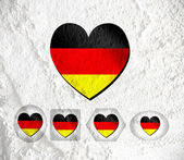 Love Germany flag sign heart symbol on Cement wall texture back — Stock Photo