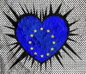 Liebe eu fahne europäische union flagge zeichen herz-symbol auf zement-wal — Stockfoto
