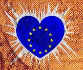 Love EU flag European union flag sign heart symbol on Cement wal — Stock Photo