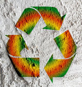 Recycle Symbol on wall texture background design — Stock Photo