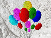 Balloons  icon  sign on wall texture background design — Stock Photo