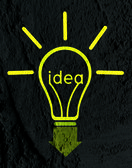 Idea Light bulb icon on wall texture background design — Stock Photo