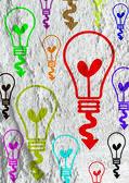Icona di lampadina idea su disegno di sfondo texture parete — Foto Stock
