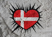 Love Denmark flag sign heart symbol on wall texture background d — Stock Photo