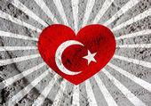 Láska Turecko vlajky srdce znaménko na cement zdi textury pozadí — Stock fotografie