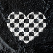 Love checkered flag sign heart symbol on Cement wall texture ba — Stock Photo #51179503
