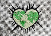 Love Globe earth  idea on Cement wall texture background design — Stock Photo