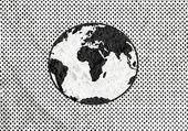 Globus Erde Idee auf Zement Wand Textur Hintergrunddesign — Stockfoto