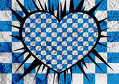 Love checkered  flag sign heart symbol on Cement wall texture ba — Stock Photo