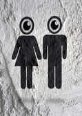 Pictogram Man Woman Sign icons on Cement wall texture background — 图库照片