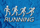 Running idea in Illustration on Cement wall texture background d — Stock Photo