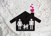 Menschen familie piktogramm auf zement wand textur hintergrunddesign — Stockfoto