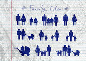 People Family Pictogram on Cement wall texture background design — Stock Photo
