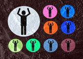 Piktogramm mann frau zeichen symbole auf zement-mauer-textur-hintergrund — Stockfoto