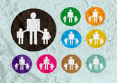 Pictogram Man Woman Sign icons on Cement wall texture background — Stock Photo