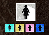 Pictogram Man Woman Sign icons on  wall texture background desig — Stock Photo