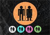 Toilet pictogram en pictogram man vrouw teken op cement muur textur — Stockfoto