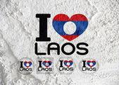 Flagge von laos themen idee design auf wand textur hintergrund — Stockfoto