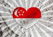 Bandeira nacional de design de idéia de temas de Singapura na ba de textura de parede — Fotografia Stock