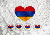 Flag of Armenia themes design idea on wall texture background  — Stock Photo