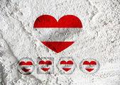 National flag of Austria themes design idea  on wall texture bac — Stockfoto