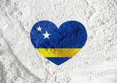 Curacao flag themes idea design on wall texture background — Stock Photo
