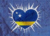 Curacao flaggendesign themen idee auf wand textur hintergrund — Stockfoto