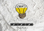 Light bulb with Charging Battery Power Idea on wall texture back — Stock Photo