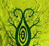 иллюстрации, стилизованные дерево с листьями на стены текстуры фонов — Стоковое фото