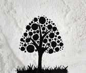Trees with leaves  in silhouettes  on wall texture background de — Stock Photo
