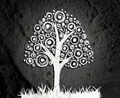 Tree with leaves in silhouettes background — Stock fotografie
