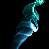 Blue Green Abstract Smoke on Black Background — Stock Photo
