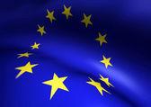 European Union EU Flag Waving 3d Close up Illustration — Stock Photo