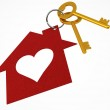 Golden House Keys with Red Heart Shape House Icon Illustration i — Stock Photo #18783669